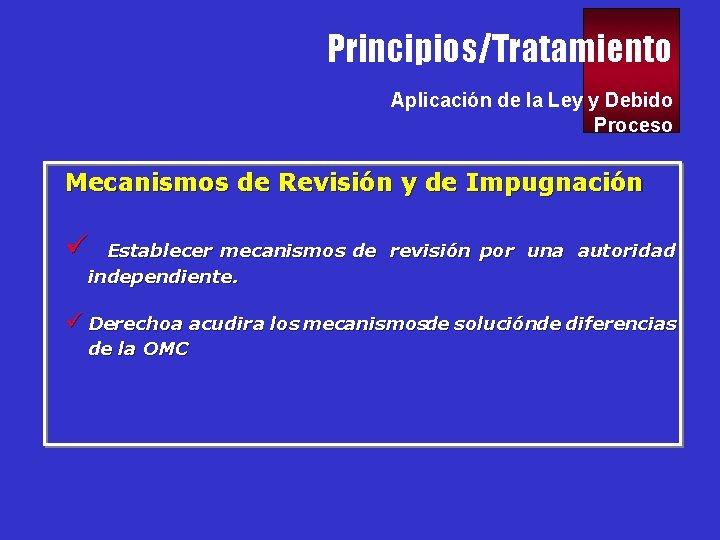 Principios/Tratamiento Aplicación de la Ley y Debido Proceso Mecanismos de Revisión y de Impugnación