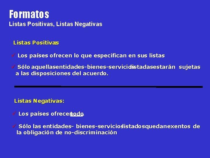 Formatos Listas Positivas, Listas Negativas Listas Positivas : ü Los países ofrecen lo que