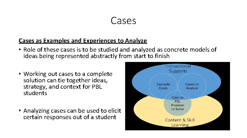 Cases as Examples and Experiences to Analyze • Role of these cases is to