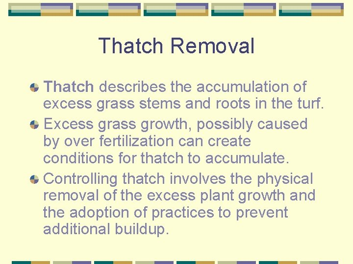 Thatch Removal Thatch describes the accumulation of excess grass stems and roots in the