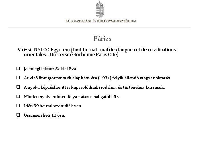 Párizsi INALCO Egyetem (Institut national des langues et des civilisations orientales - Université Sorbonne