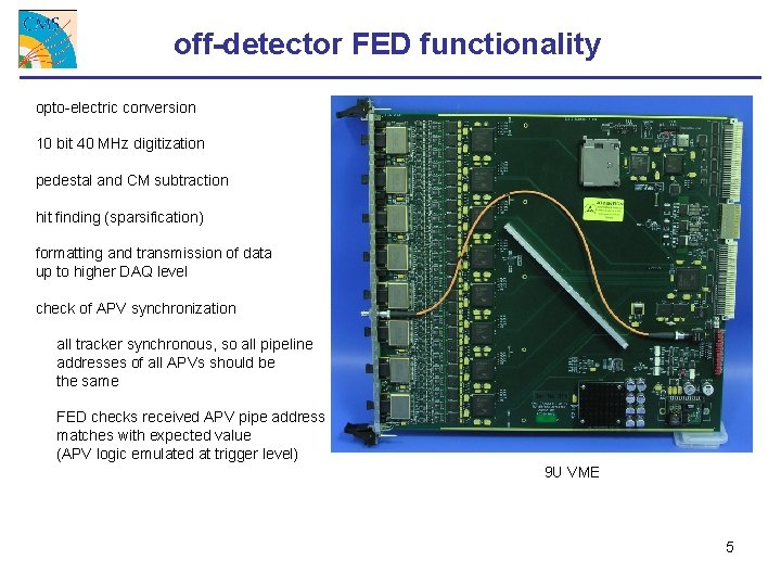 off-detector FED functionality opto-electric conversion 10 bit 40 MHz digitization pedestal and CM subtraction