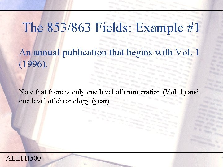 The 853/863 Fields: Example #1 An annual publication that begins with Vol. 1 (1996).