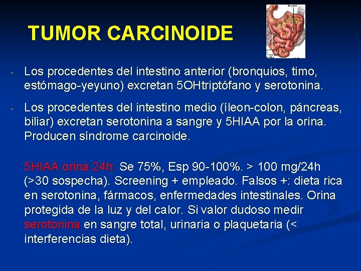 TUMOR CARCINOIDE - Los procedentes del intestino anterior (bronquios, timo, estómago-yeyuno) excretan 5 OHtriptófano