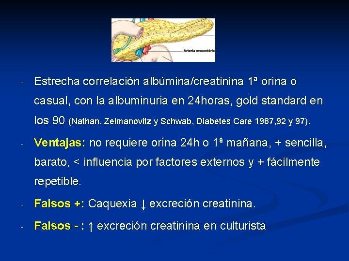 - Estrecha correlación albúmina/creatinina 1ª orina o casual, con la albuminuria en 24 horas,