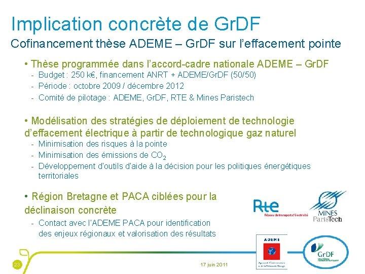Implication concrète de Gr. DF Cofinancement thèse ADEME – Gr. DF sur l'effacement pointe