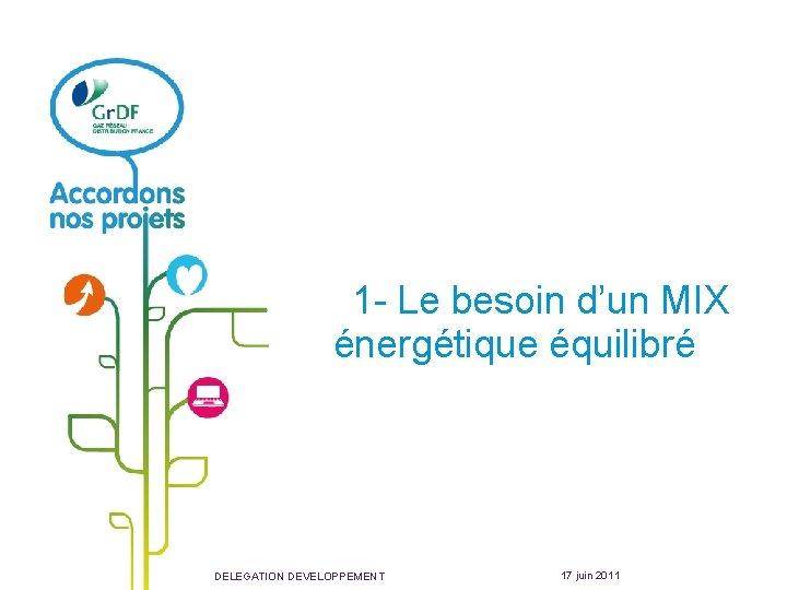 1 - Le besoin d'un MIX énergétique équilibré DELEGATION DEVELOPPEMENT 17 juin 2011