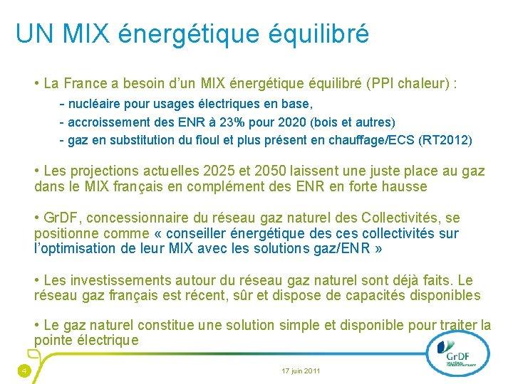 UN MIX énergétique équilibré • La France a besoin d'un MIX énergétique équilibré (PPI