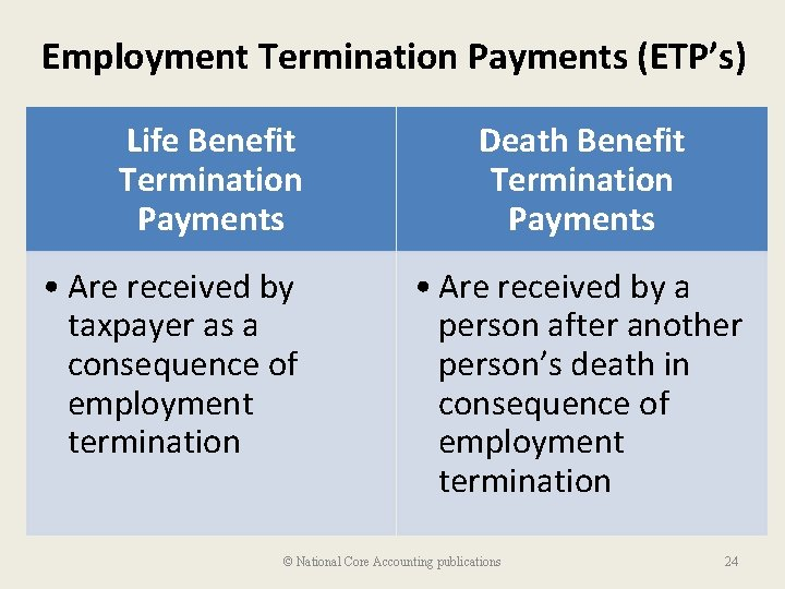Employment Termination Payments (ETP's) Life Benefit Termination Payments • Are received by taxpayer as