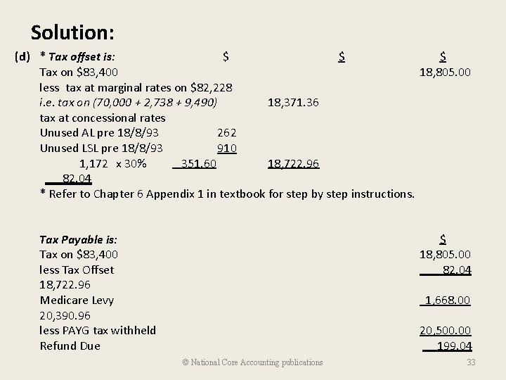 Solution: (d) * Tax offset is: $ $ Tax on $83, 400 less tax