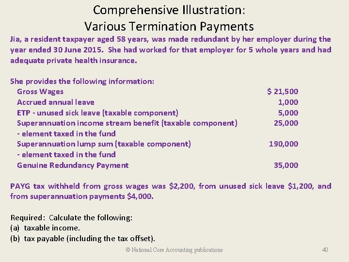 Comprehensive Illustration: Various Termination Payments Jia, a resident taxpayer aged 58 years, was made