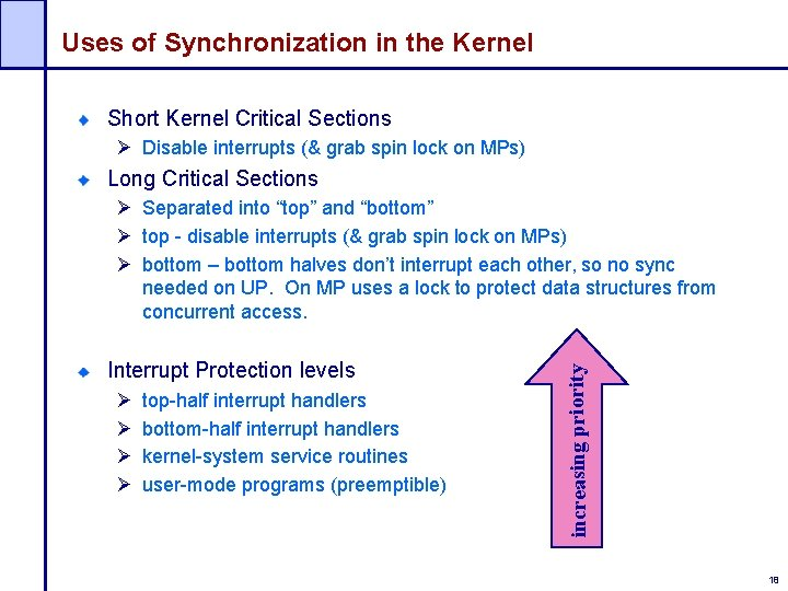 Uses of Synchronization in the Kernel Short Kernel Critical Sections Ø Disable interrupts (&