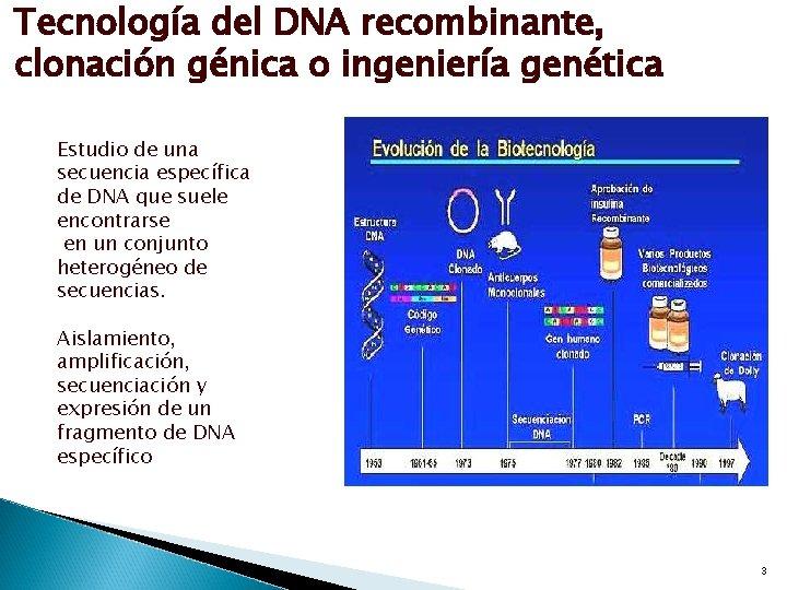 Tecnología del DNA recombinante, clonación génica o ingeniería genética Estudio de una secuencia específica