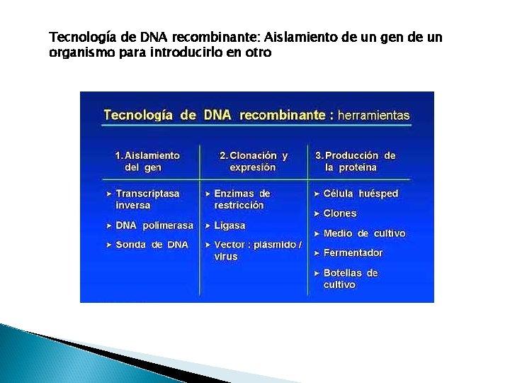 Tecnología de DNA recombinante: Aislamiento de un gen de un organismo para introducirlo en