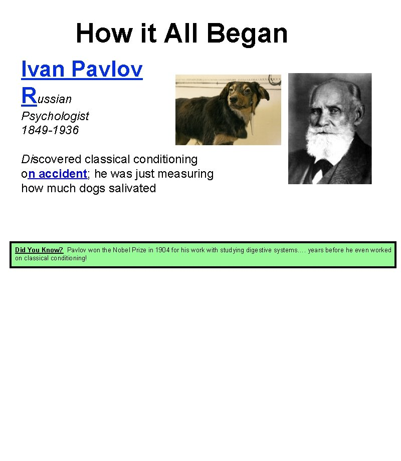 How it All Began Ivan Pavlov Russian Psychologist 1849 -1936 Discovered classical conditioning on