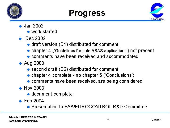 Progress u u u Jan 2002 l work started Dec 2002 l draft version