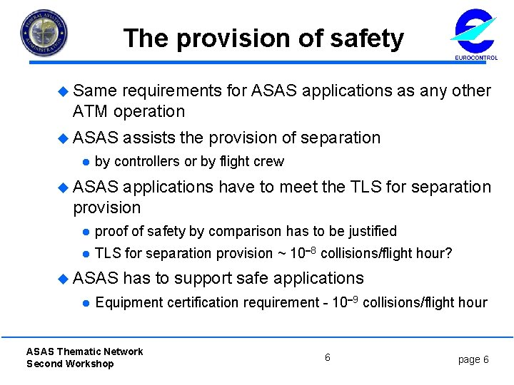 The provision of safety u Same requirements for ASAS applications as any other ATM