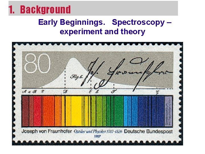 1. Background Early Beginnings. Spectroscopy – experiment and theory
