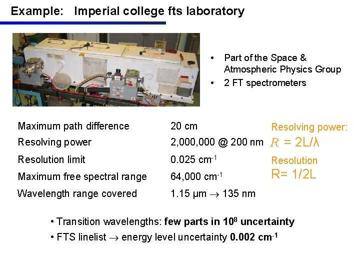 Example: Imperial college fts laboratory • • Part of the Space & Atmospheric Physics