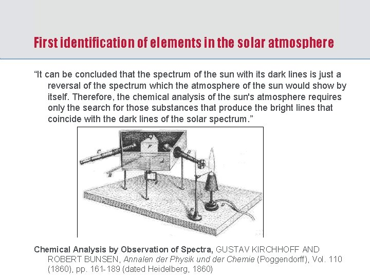 """First identification of elements in the solar atmosphere """"It can be concluded that the"""