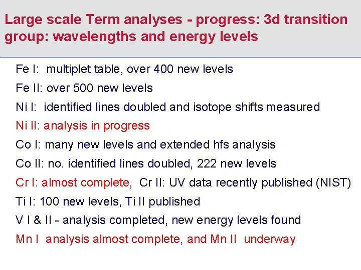 Large scale Term analyses - progress: 3 d transition group: wavelengths and energy levels