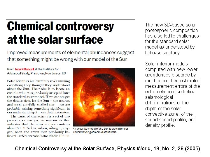 The new 3 D-based solar photospheric composition has also led to challenges for the