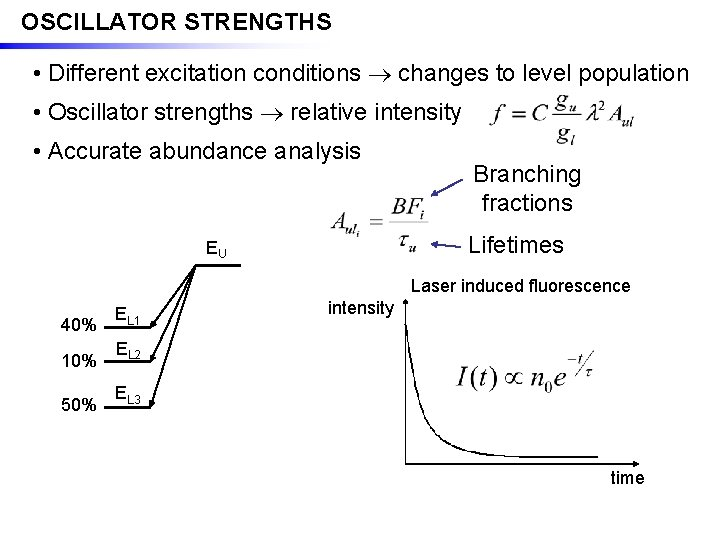 OSCILLATOR STRENGTHS • Different excitation conditions changes to level population • Oscillator strengths relative