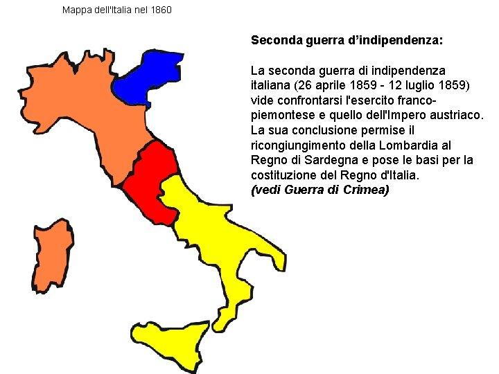 Mappa dell'Italia nel 1860 Seconda guerra d'indipendenza: La seconda guerra di indipendenza italiana (26