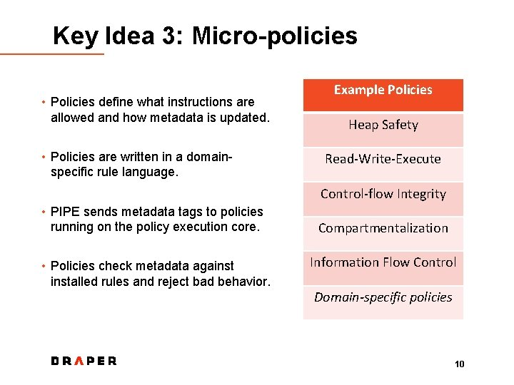 Key Idea 3: Micro-policies • Policies define what instructions are allowed and how metadata