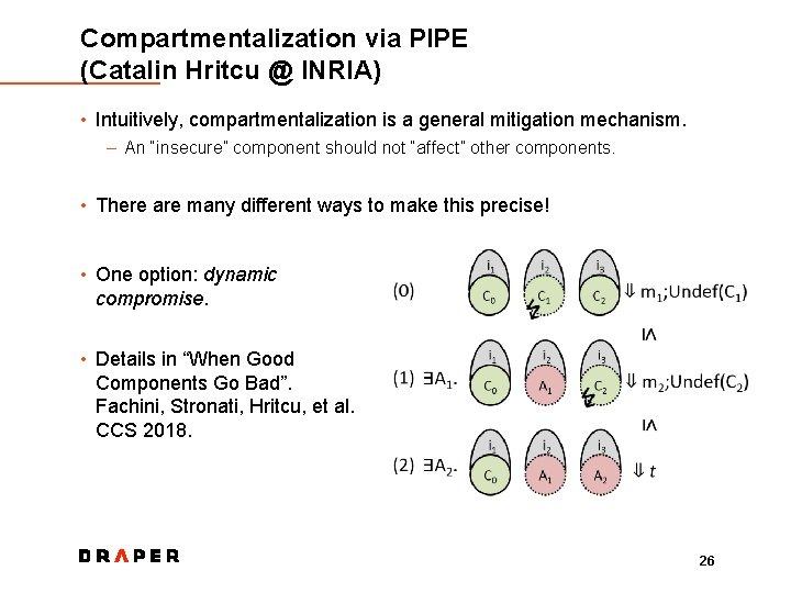 Compartmentalization via PIPE (Catalin Hritcu @ INRIA) • Intuitively, compartmentalization is a general mitigation