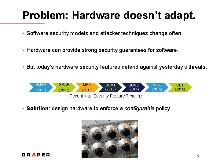 Problem: Hardware doesn't adapt. • Software security models and attacker techniques change often. •