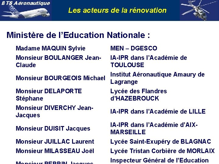 BTS Aéronautique Les acteurs de la rénovation Ministère de l'Education Nationale : Madame MAQUIN