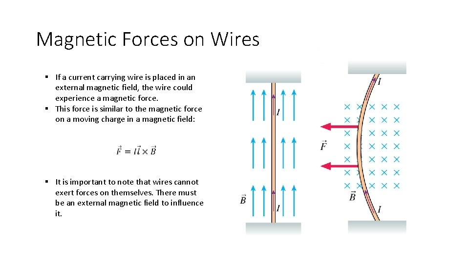 Magnetic Forces on Wires § If a current carrying wire is placed in an