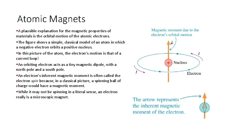 Atomic Magnets §A plausible explanation for the magnetic properties of materials is the orbital