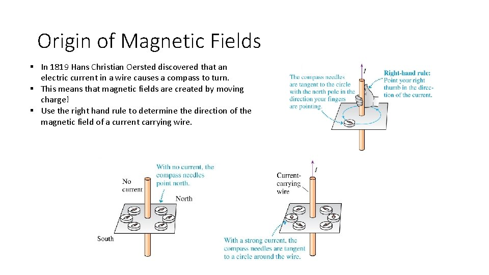 Origin of Magnetic Fields § In 1819 Hans Christian Oersted discovered that an electric