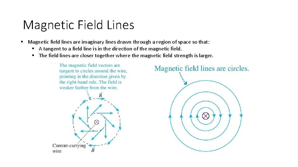 Magnetic Field Lines § Magnetic field lines are imaginary lines drawn through a region