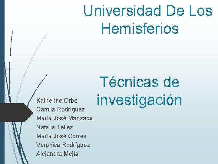 Universidad De Los Hemisferios Katherine Orbe Camila Rodríguez María José Manzaba Natalia Téllez María