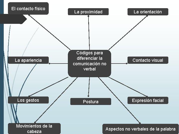 El contacto físico La proximidad La orientación La apariencia Códigos para diferenciar la comunicación