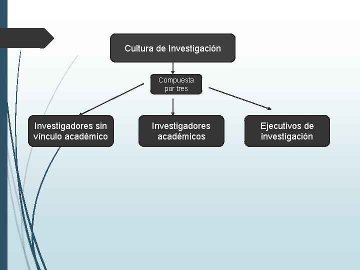 Cultura de Investigación Compuesta por tres Investigadores sin vínculo académico Investigadores académicos Ejecutivos de