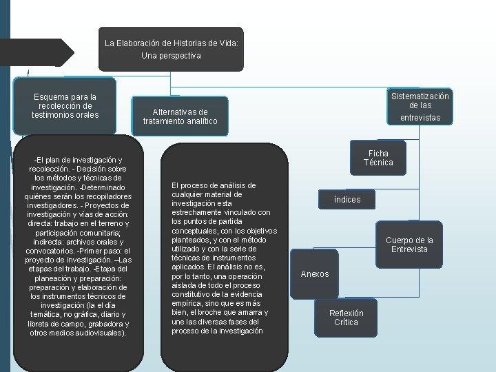 La Elaboración de Historias de Vida: Una perspectiva Esquema para la recolección de testimonios