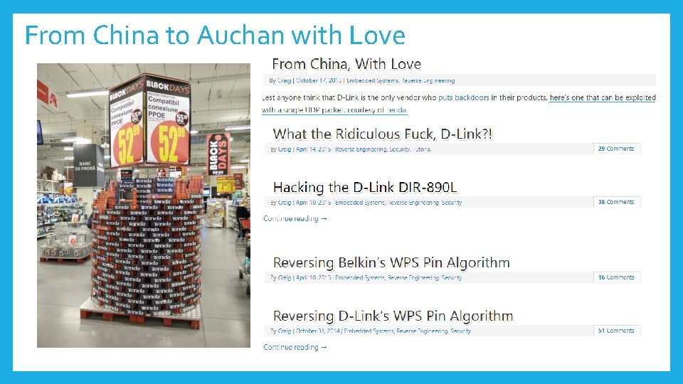 From China to Auchan with Love