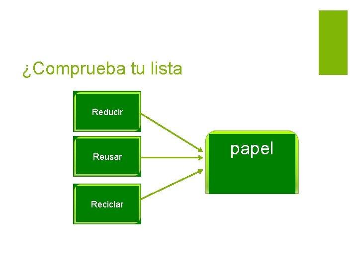 ¿Comprueba tu lista Reducir Reusar Reciclar papel