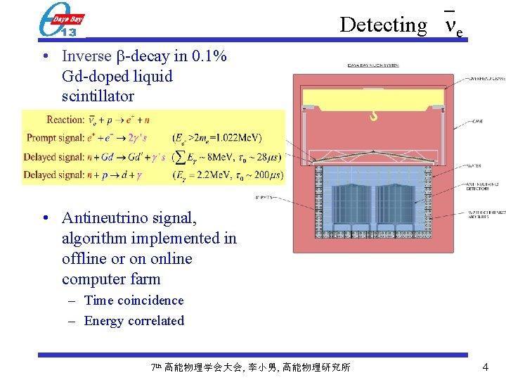 Detecting e • Inverse -decay in 0. 1% Gd-doped liquid scintillator • Antineutrino signal,