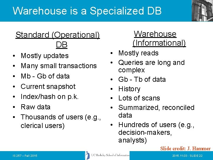 Warehouse is a Specialized DB Standard (Operational) DB • • Mostly updates Many small