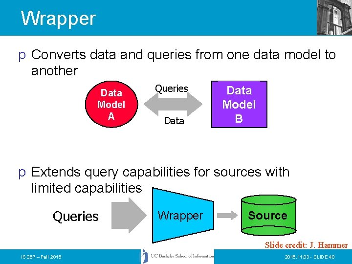 Wrapper p Converts data and queries from one data model to another Data Model
