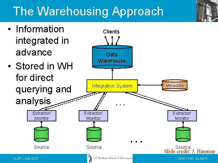The Warehousing Approach • Information integrated in advance • Stored in WH for direct