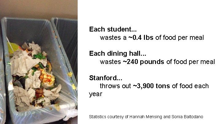 Each student. . . wastes a ~0. 4 lbs of food per meal Each