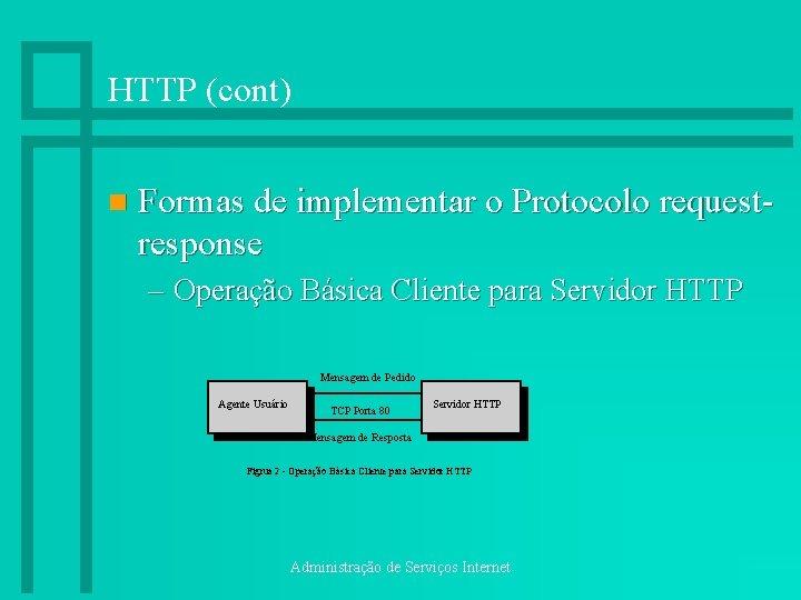 HTTP (cont) n Formas de implementar o Protocolo requestresponse – Operação Básica Cliente para