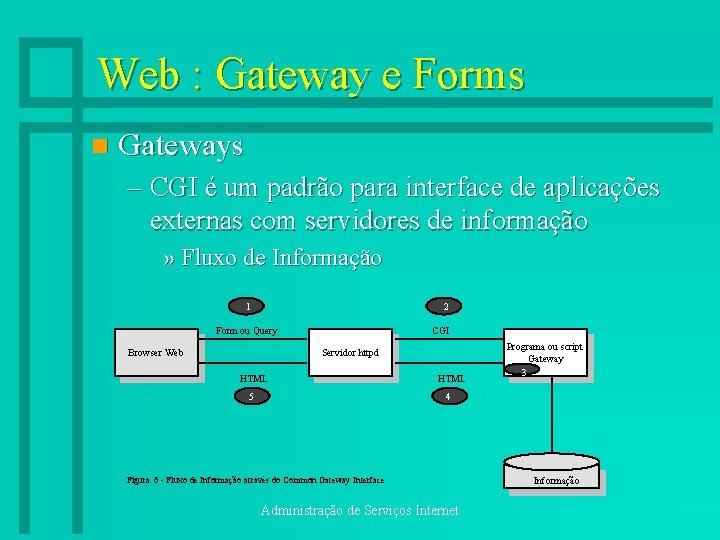 Web : Gateway e Forms n Gateways – CGI é um padrão para interface