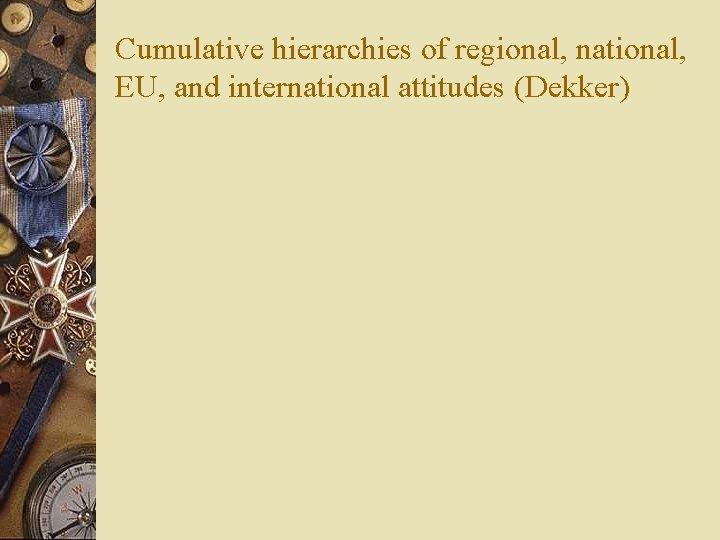 Cumulative hierarchies of regional, national, EU, and international attitudes (Dekker)